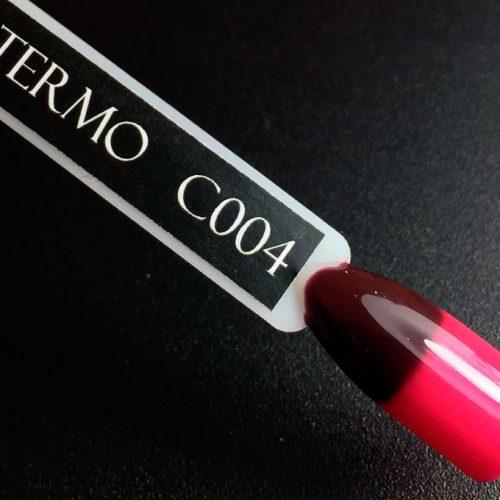 Гель-лак Komilfo DeLuxe Termo №C004 (темно-винный, при нагревании — темно-розовый), 8 мл