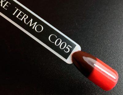Гель-лак Komilfo DeLuxe Termo №C005 (бордово-коричневый, при нагревании — красный), 8 мл