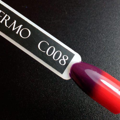 Гель-лак Komilfo DeLuxe Termo №C008 (фиолетовый, при нагревании — красный), 8 мл