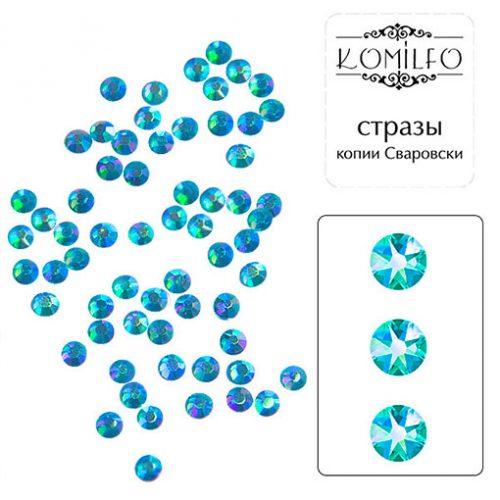 Komilfo стразы копия Сваровски (100 шт. в упаковке), Blue zircon AB, размер 3