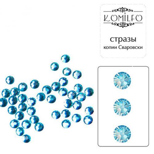Komilfo стразы копия Сваровски (100 шт. в упаковке), Aquamarine, размер 4