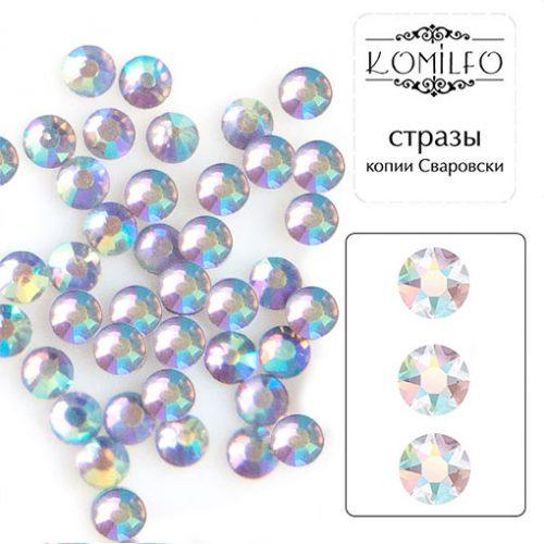 Komilfo стразы копия Сваровски (100 шт. в упаковке), Bk.Diamond AB, размер 5