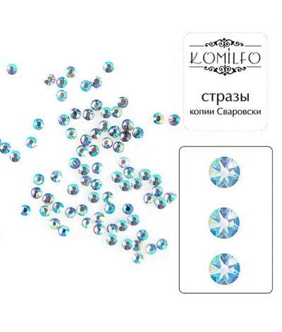 Komilfo стразы копия Сваровски (100 шт. в упаковке), Bk.Diamond AB, размер 3