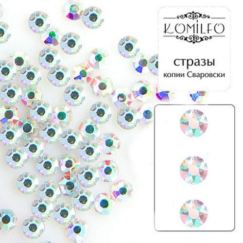 Komilfo cтразы копия Сваровски, Crystal AB, размер 6 (100 шт. в упаковке)