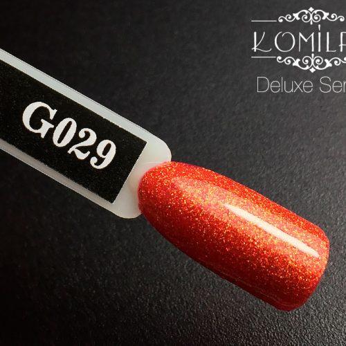 Гель-лак Komilfo DeLuxe Series №G029 (насыщенный оранжевый, микроблеск), 8 мл