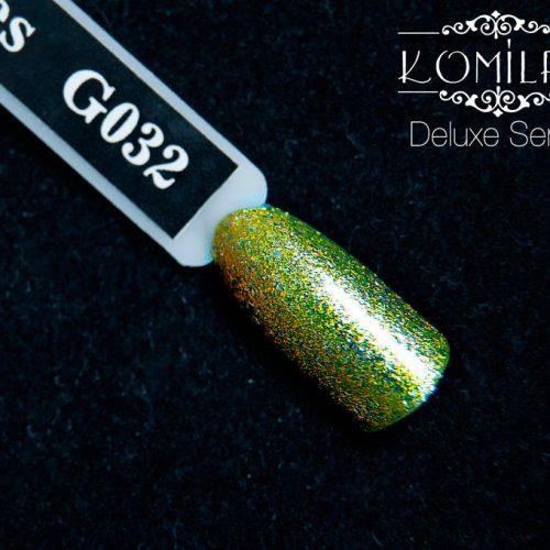 Гель-лак Komilfo DeLuxe Series №G032 (золотистый с серебристым микроблеском), 8 мл