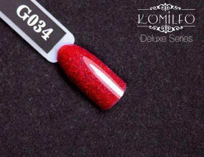 Гель-лак Komilfo DeLuxe Series №G034 (красно-розовый с блестками), 8 мл