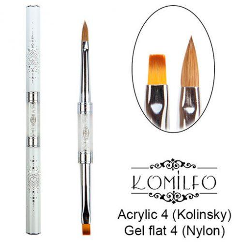 Кисть Komilfo Double Acrylic 4 (Kolinsky)/Gel flat 4 (Nylon)