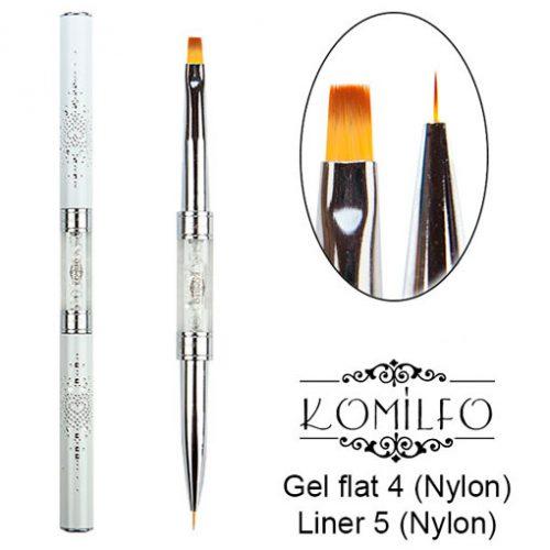 Кисть Komilfo Double Gel flat 4 (Nylon)/Liner 5 (Nylon)