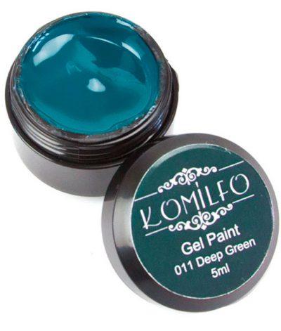 Гель-краска Komilfo №011 Deep Green (бутылочный зеленый), 5 мл