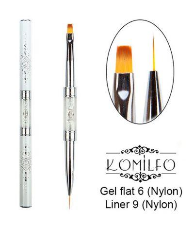 Кисть Komilfo Double Gel flat 6 (Nylon)/Liner 9 (Nylon)