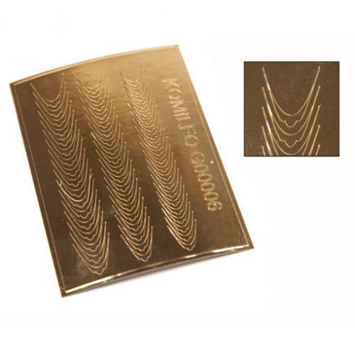 Komilfo G00006 — металлизированные наклейки для ногтей, золото