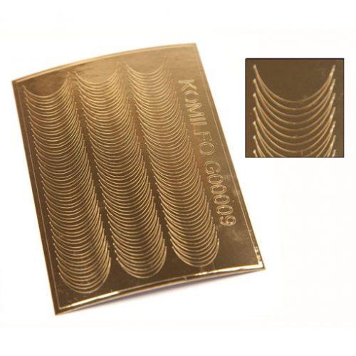Komilfo G00009 — металлизированные наклейки для ногтей, золото