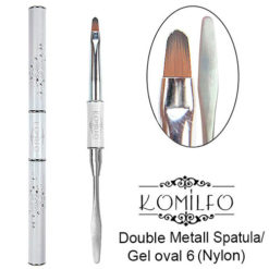 Кисть Komilfo Double Metall Spatula/Gel oval 6 (Nylon)